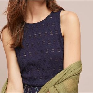 Anthropologie Pure + Good Navy Lace Layering Tank